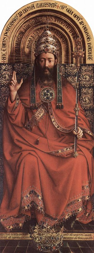 A detail from the Ghent Altarpiece by Jan van Eyck. St Bavo's Cathedral, Ghent.